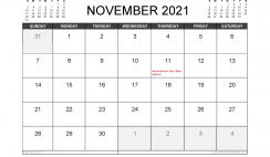 November 2021 Calendar Canada with Holidays