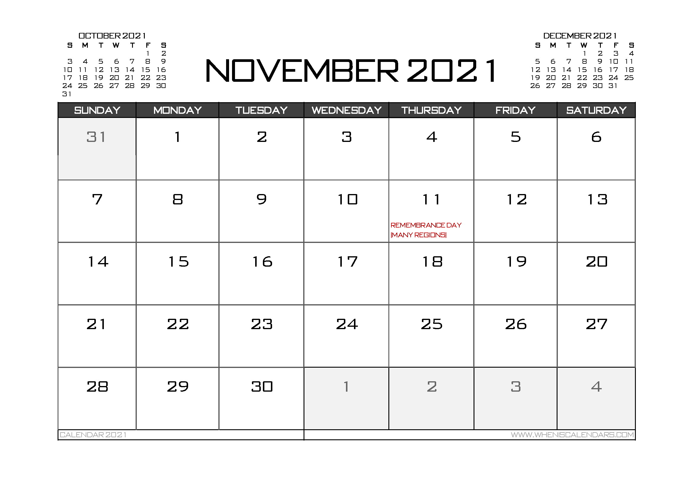 Printable November 2021 Calendar Canada
