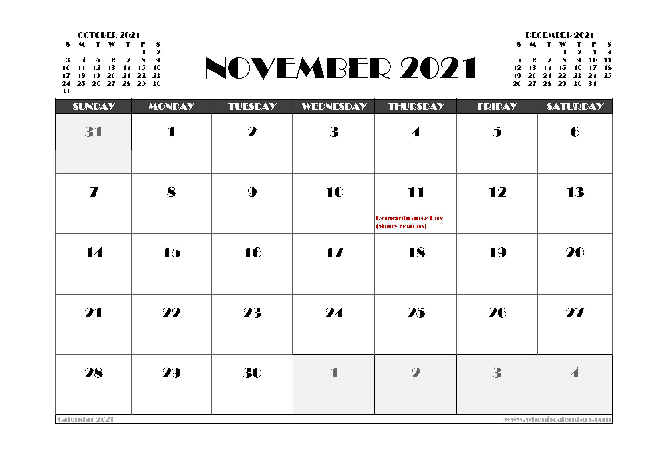 Free November 2021 Calendar Canada Printable