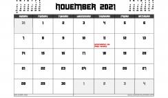 November 2021 Calendar Canada Printable