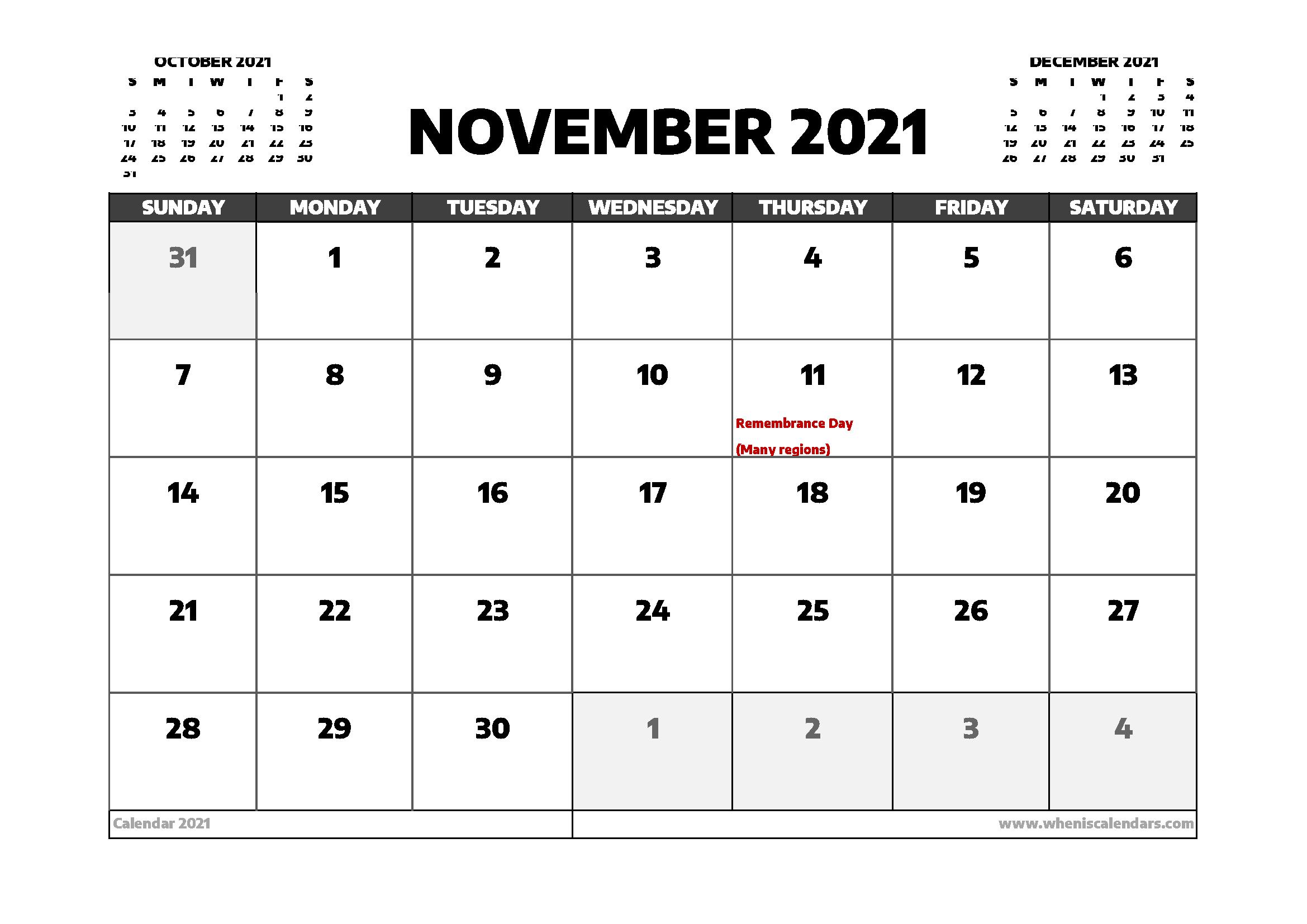 November 2021 Calendar Canada with Holidays