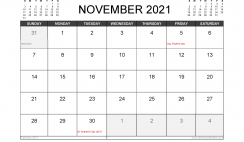November 2021 Calendar UK with Holidays