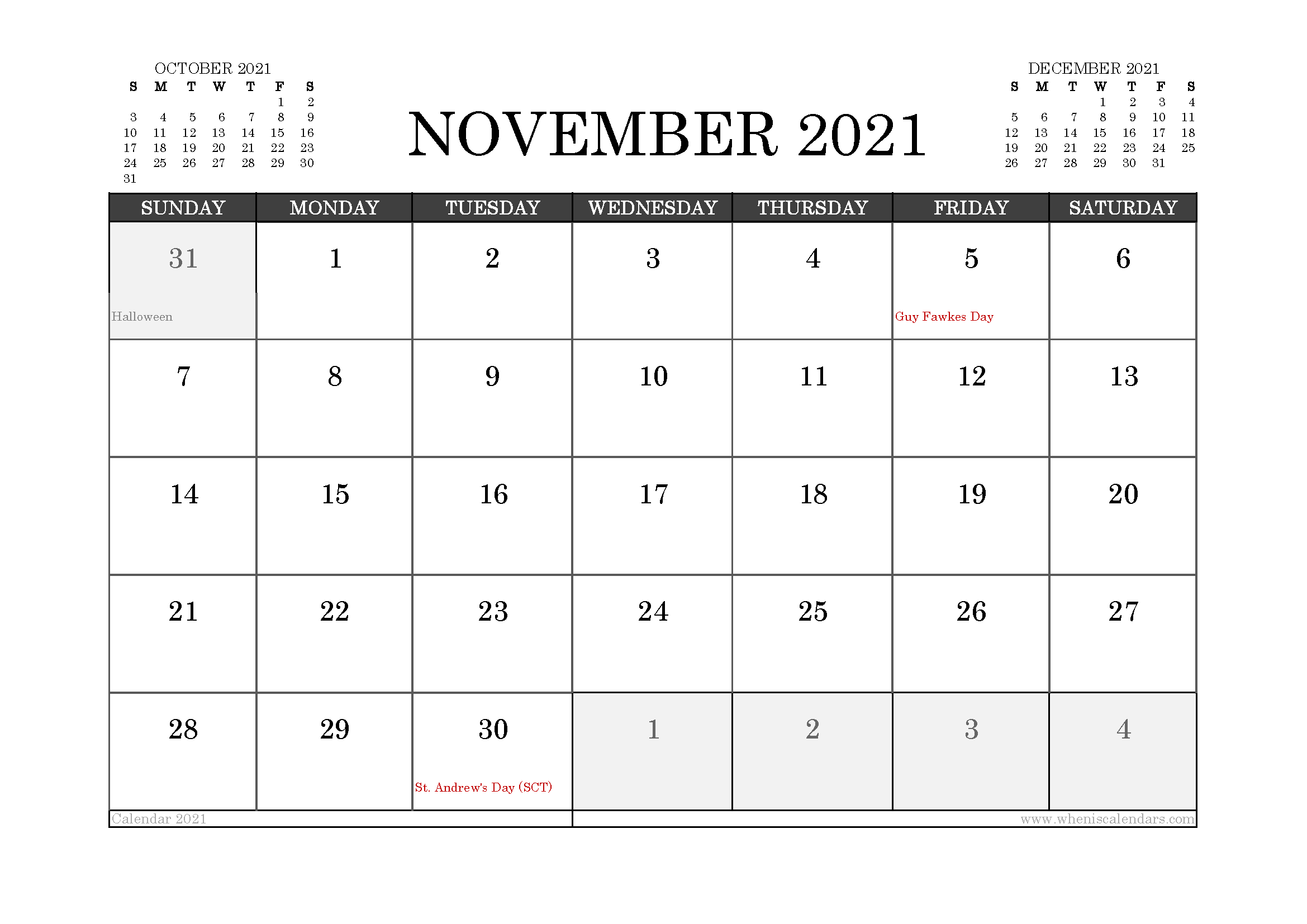 November 2021 Calendar UK with Holidays