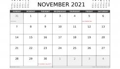 Free November 2021 Calendar UK Printable