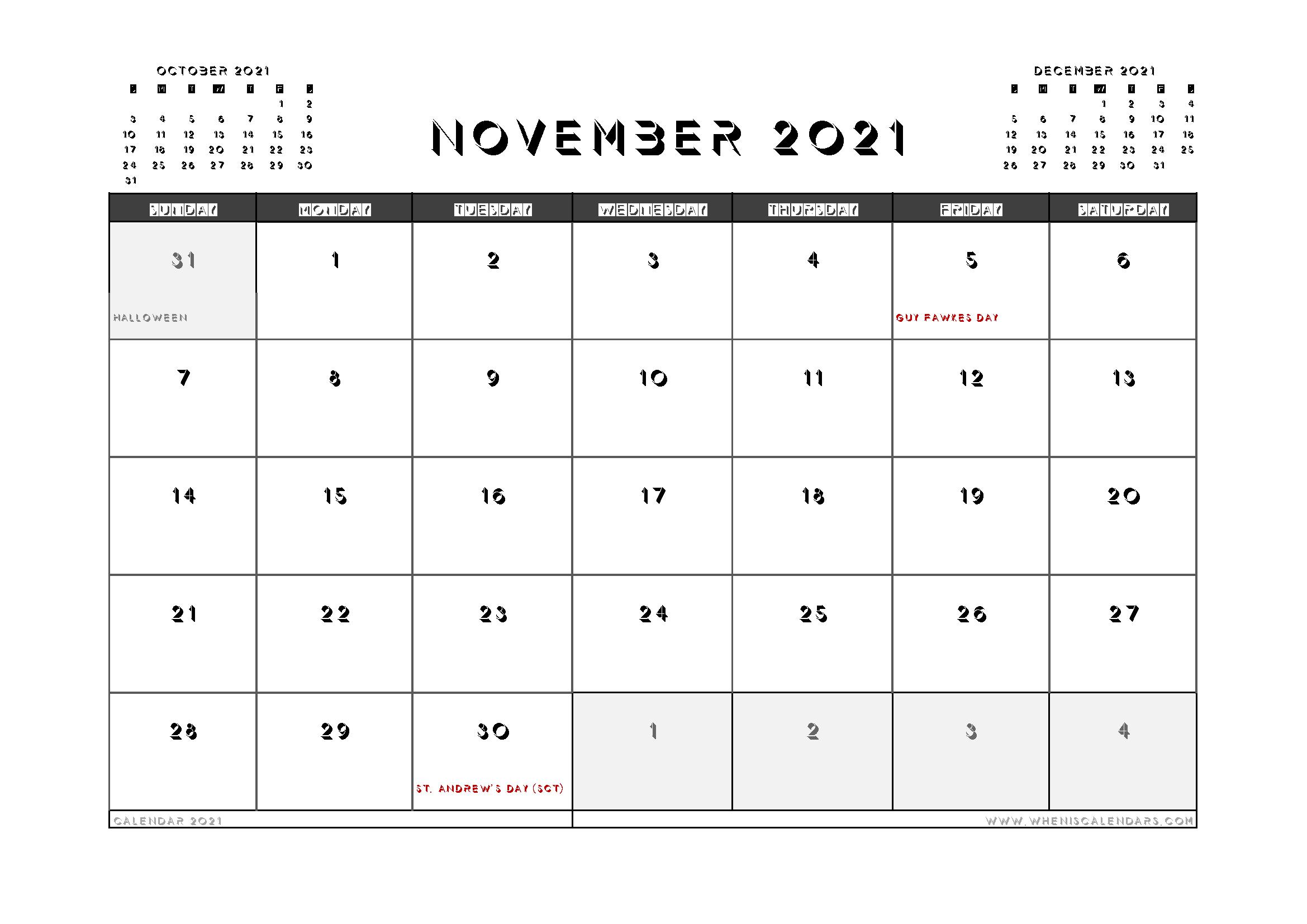 Printable November 2021 Calendar UK