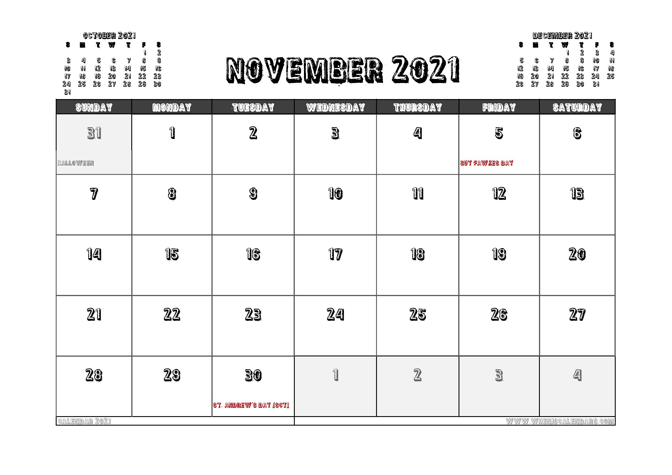 Free Printable November 2021 Calendar UK