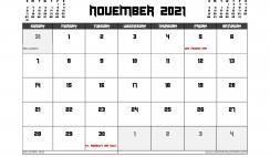 November 2021 Calendar UK Printable