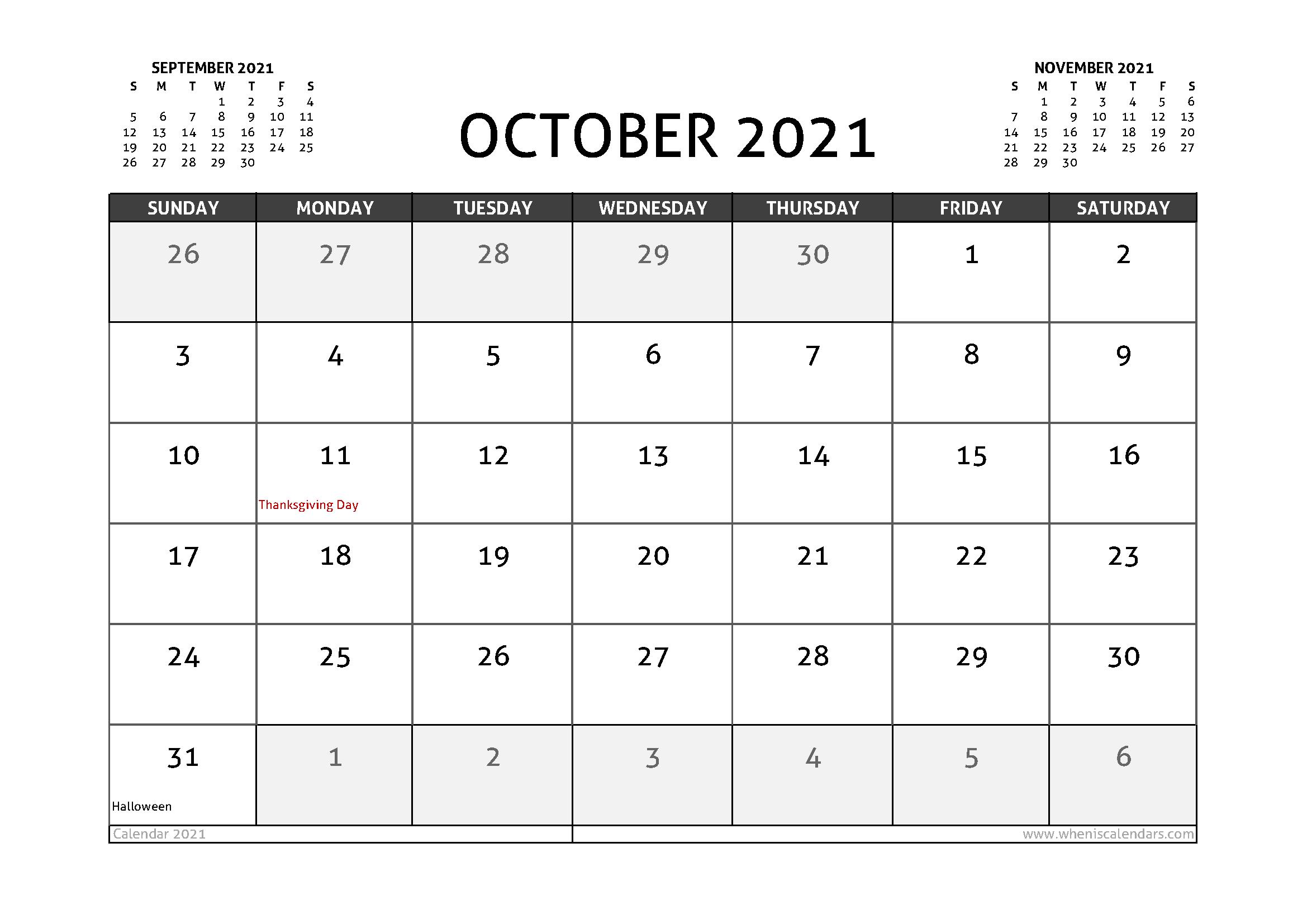 October 2021 Calendar Canada with Holidays