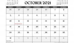 Printable October 2021 Calendar Canada