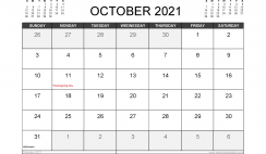October 2021 Calendar Canada with Holidays