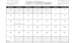 Free October 2021 Calendar Canada Printable
