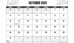 October 2021 Calendar Canada Printable
