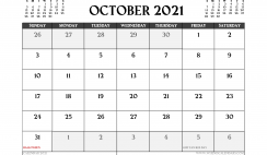 Printable October 2021 Calendar UK