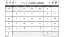 October 2021 Calendar UK Printable