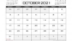Printable October 2021 Calendar UK