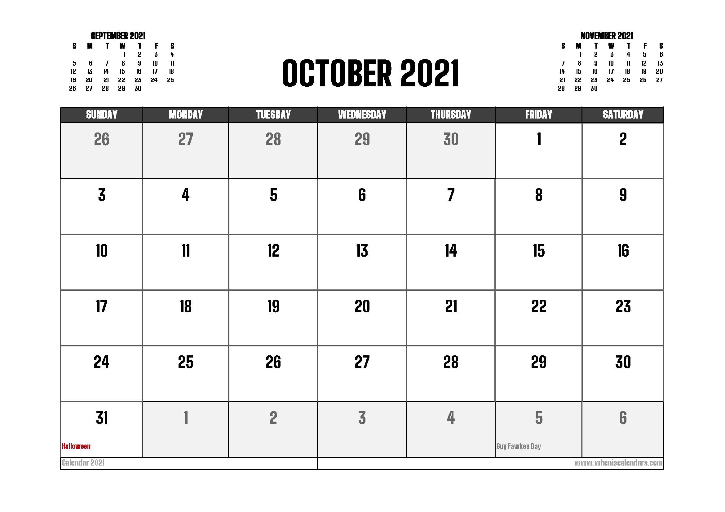 October 2021 Calendar UK Printable