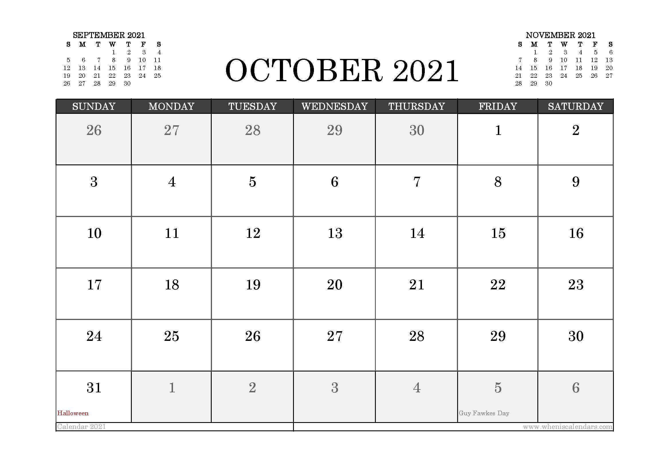 October 2021 Calendar UK with Holidays