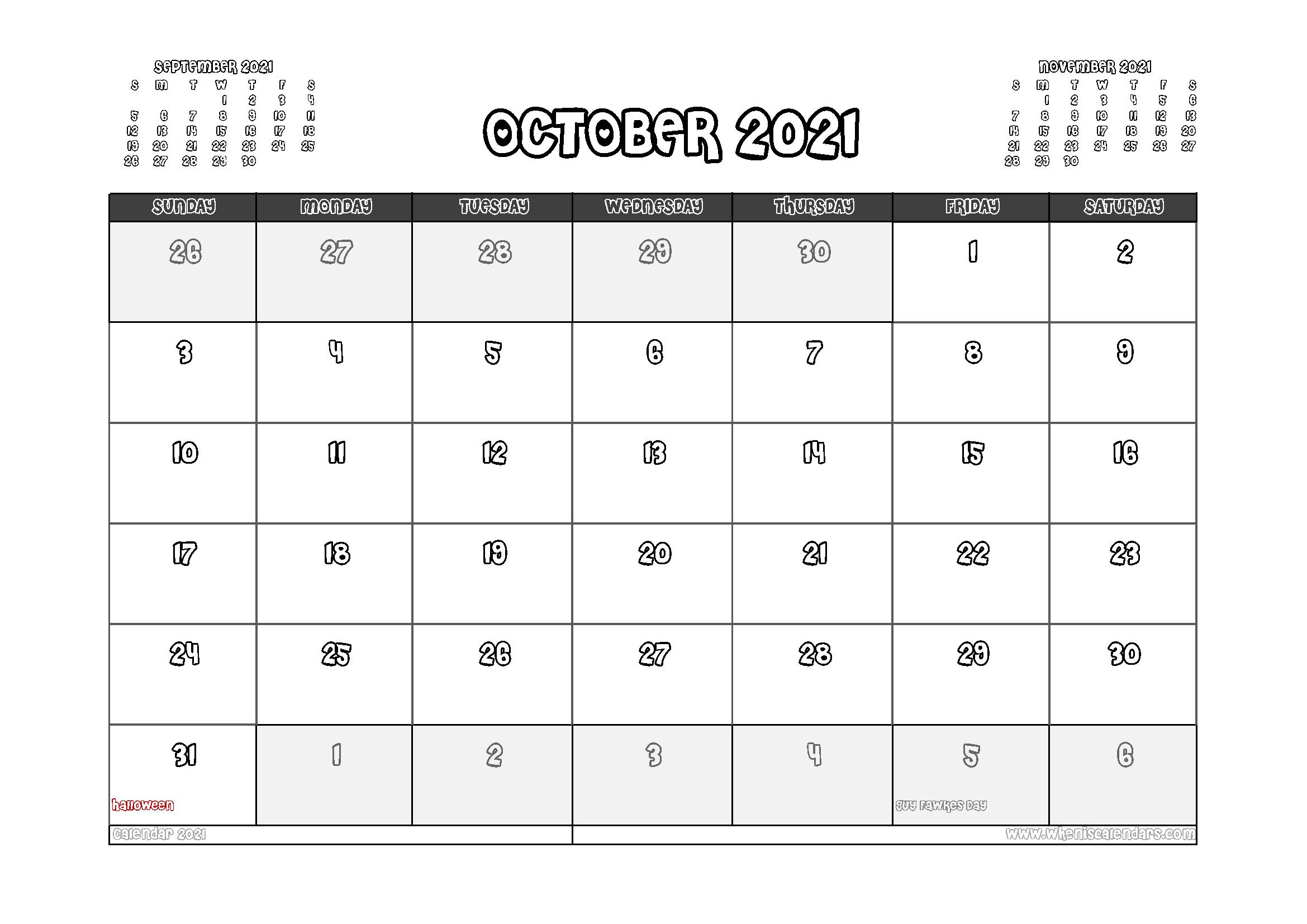 Free Printable October 2021 Calendar UK