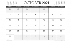 Free October 2021 Calendar UK Printable