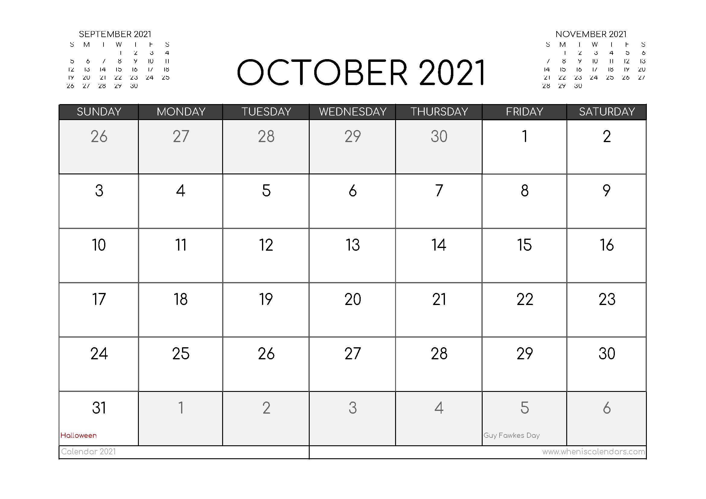 Free October 2021 Calendar UK Printable