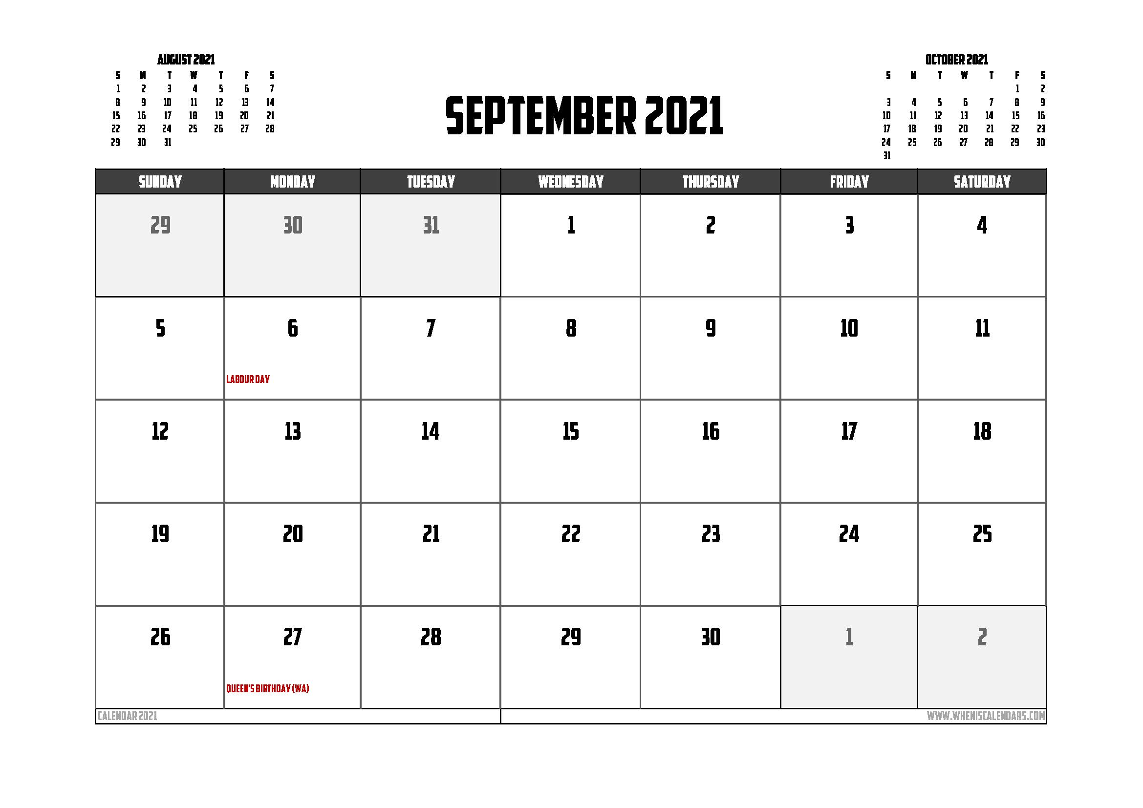 Free Printable September 2021 Calendar Canada 12 Templates