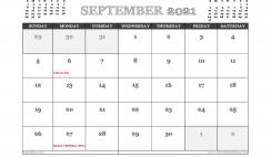 September 2021 Calendar Canada Printable