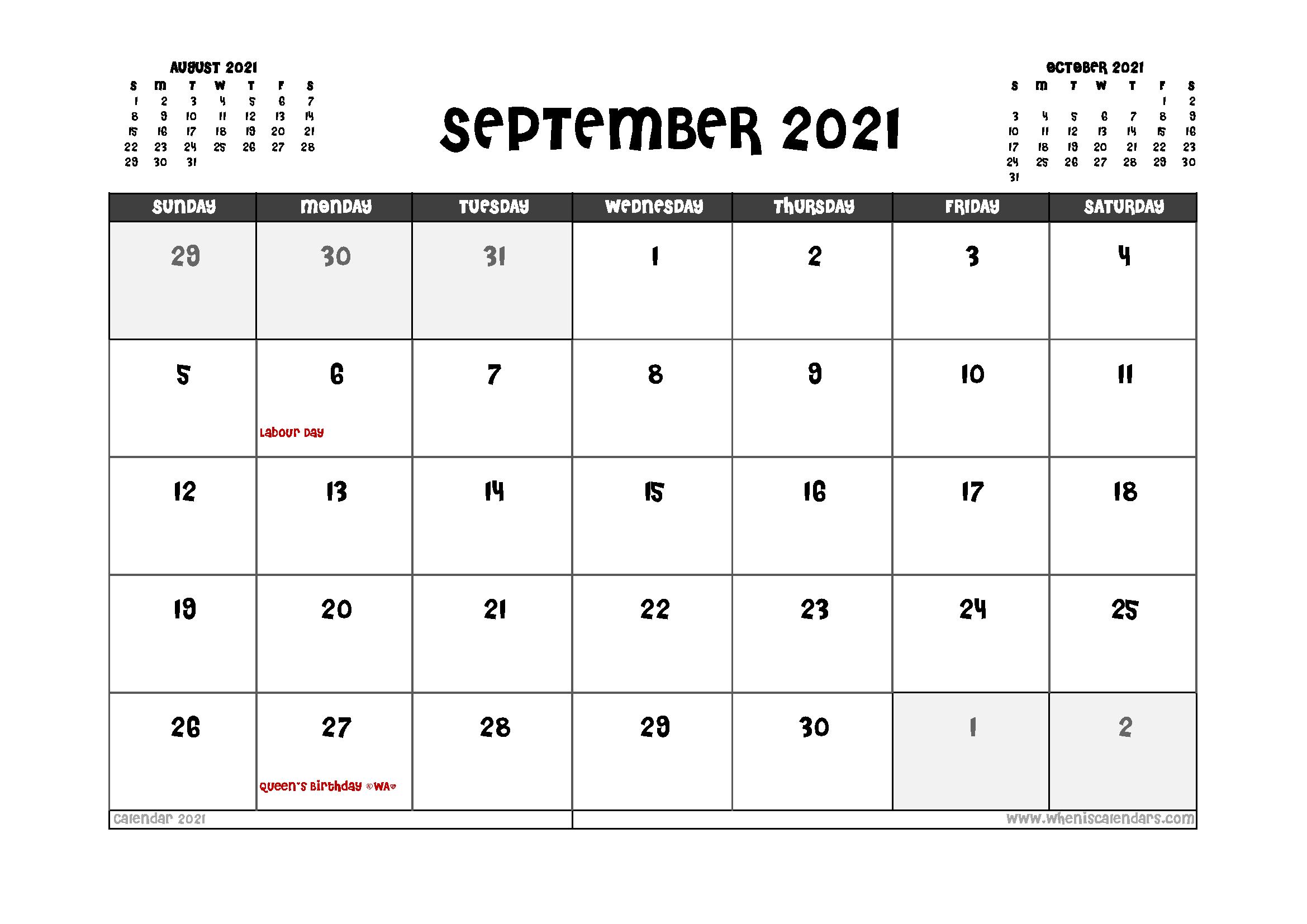 Printable September 2021 Calendar Canada