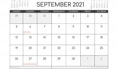 Free September 2021 Calendar Canada Printable