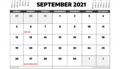 September 2021 Calendar Canada with Holidays