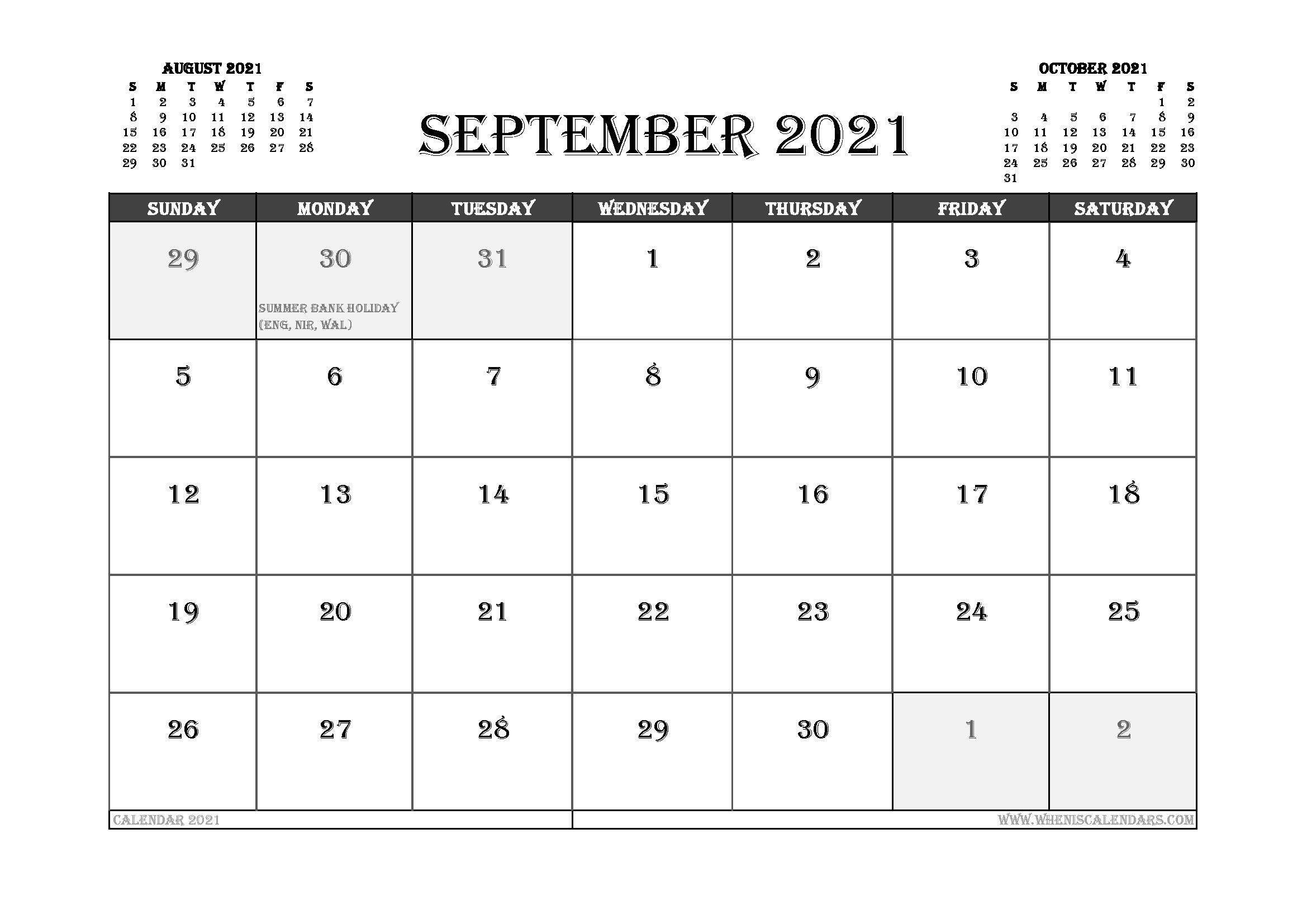 September 2021 Calendar UK Printable