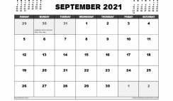 Free September 2021 Calendar UK Printable