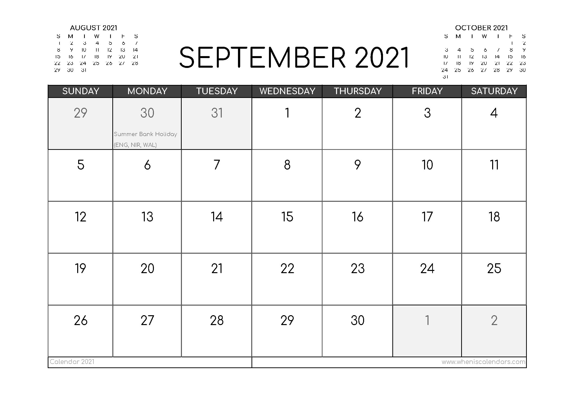 Free September 2021 Calendar UK Printable