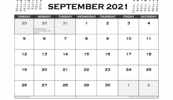 Printable September 2021 Calendar UK