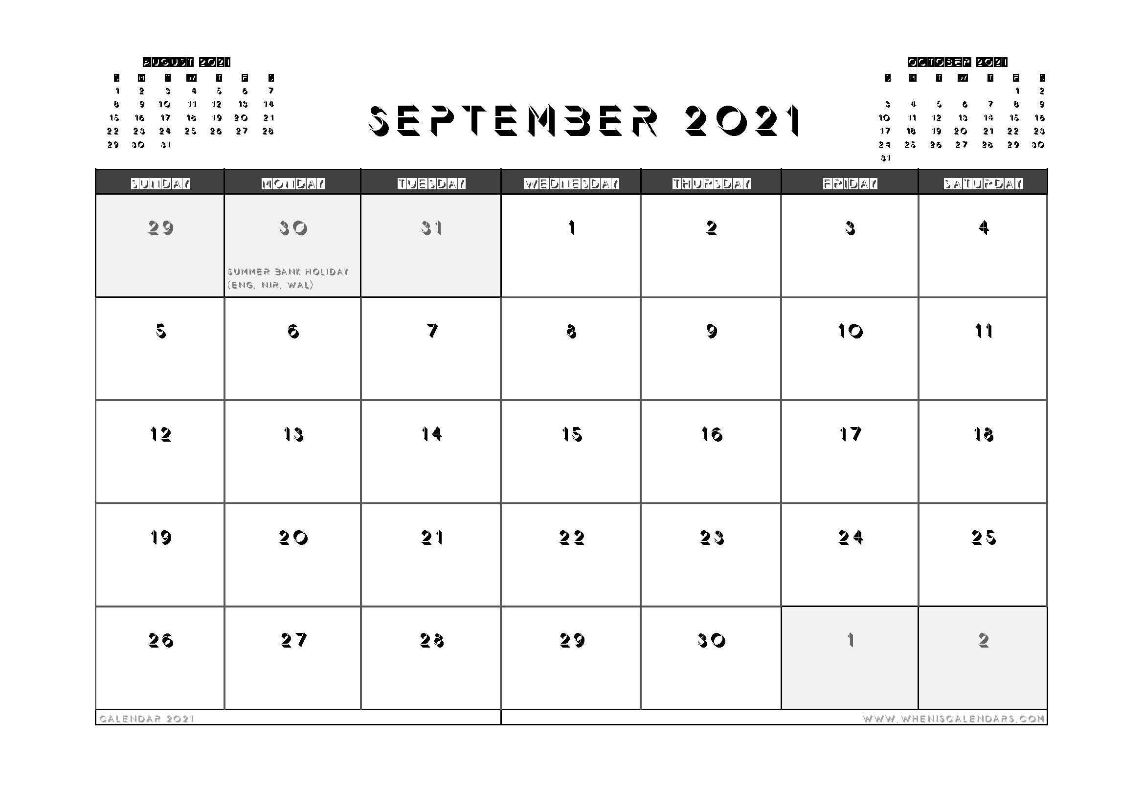 Printable September 2021 Calendar UK