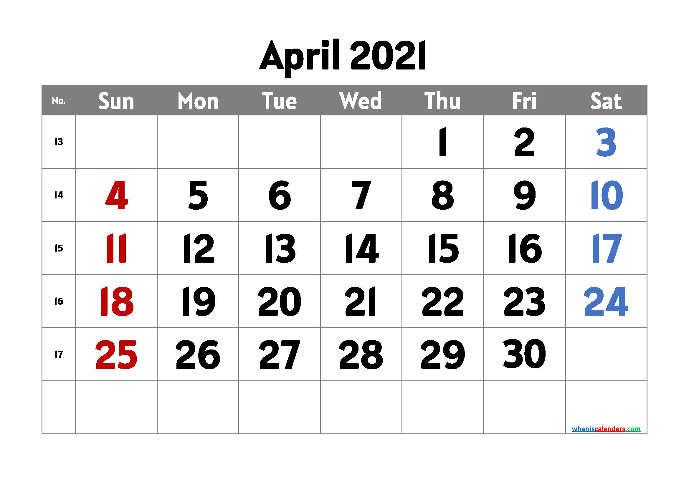 April 2021 Calendar Printable Free
