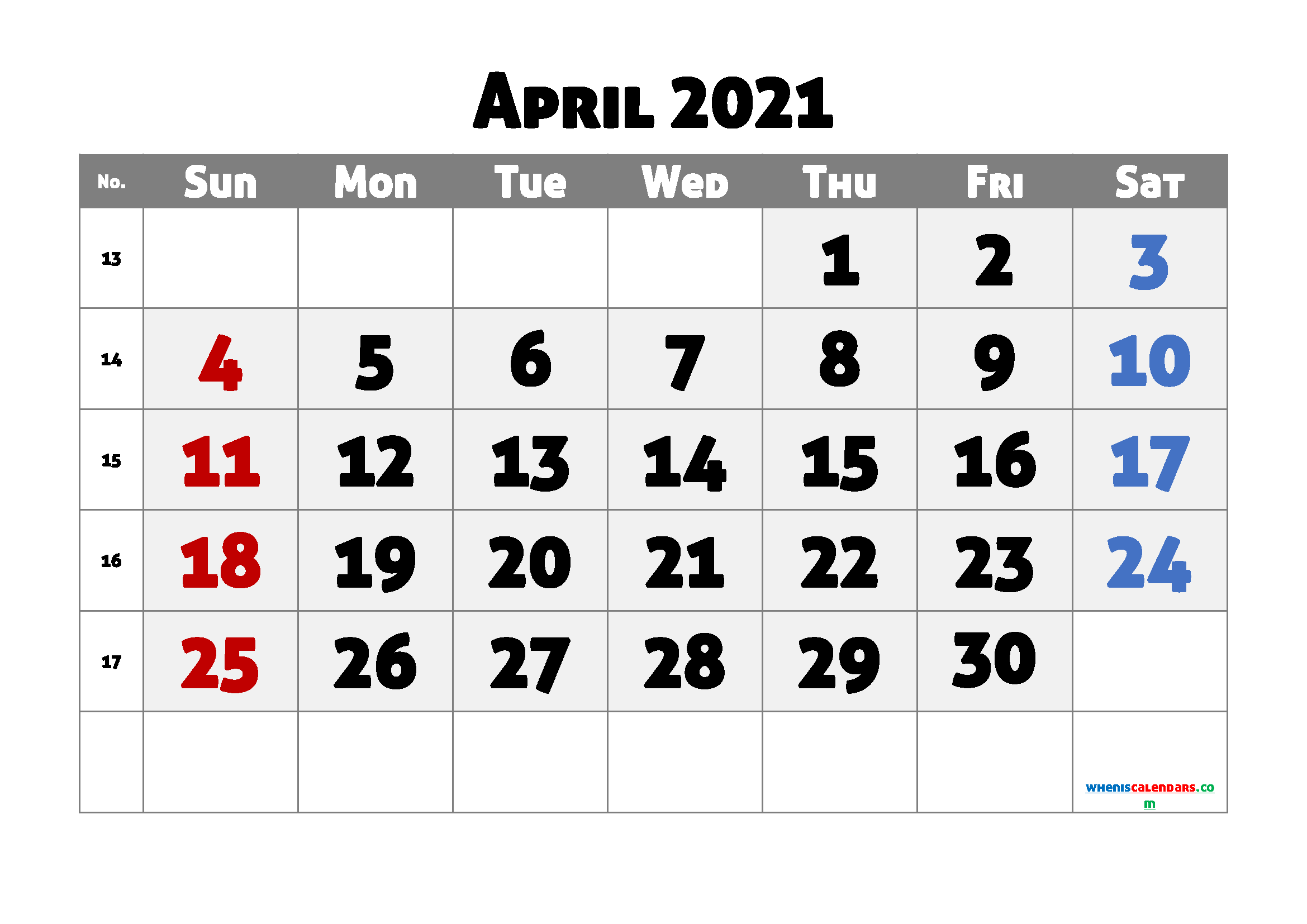 Editable April 2021 Calendar Free