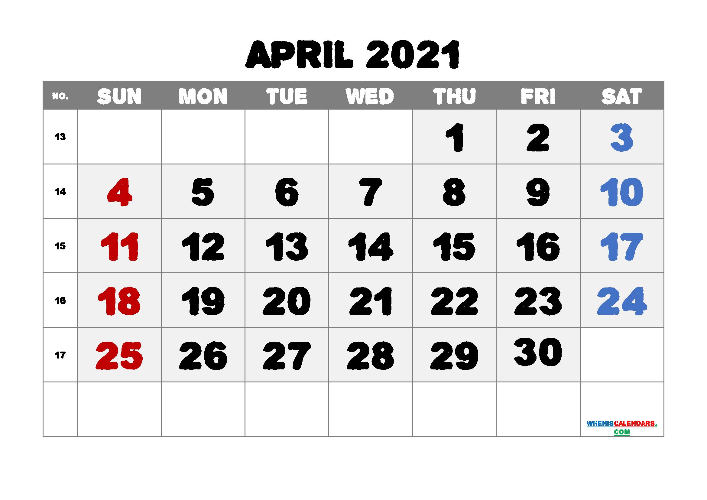 Editable Printable April 2021 Calendar