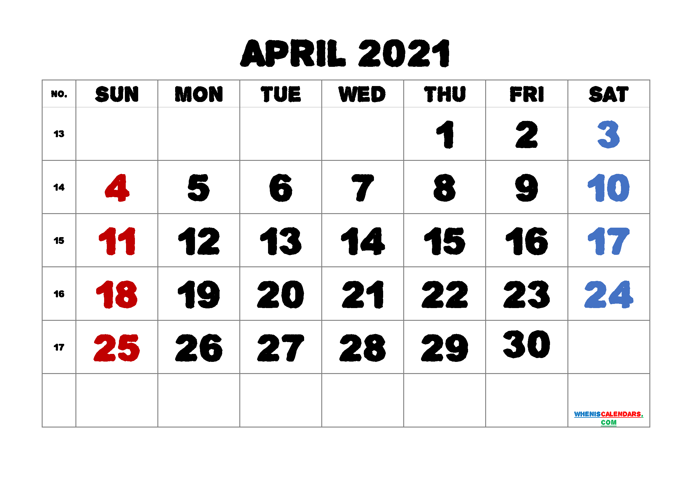 April 2021 Printable Calendar Free