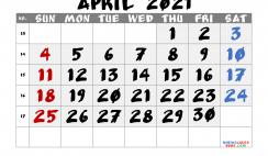 Free Calendar April 2021 Printable