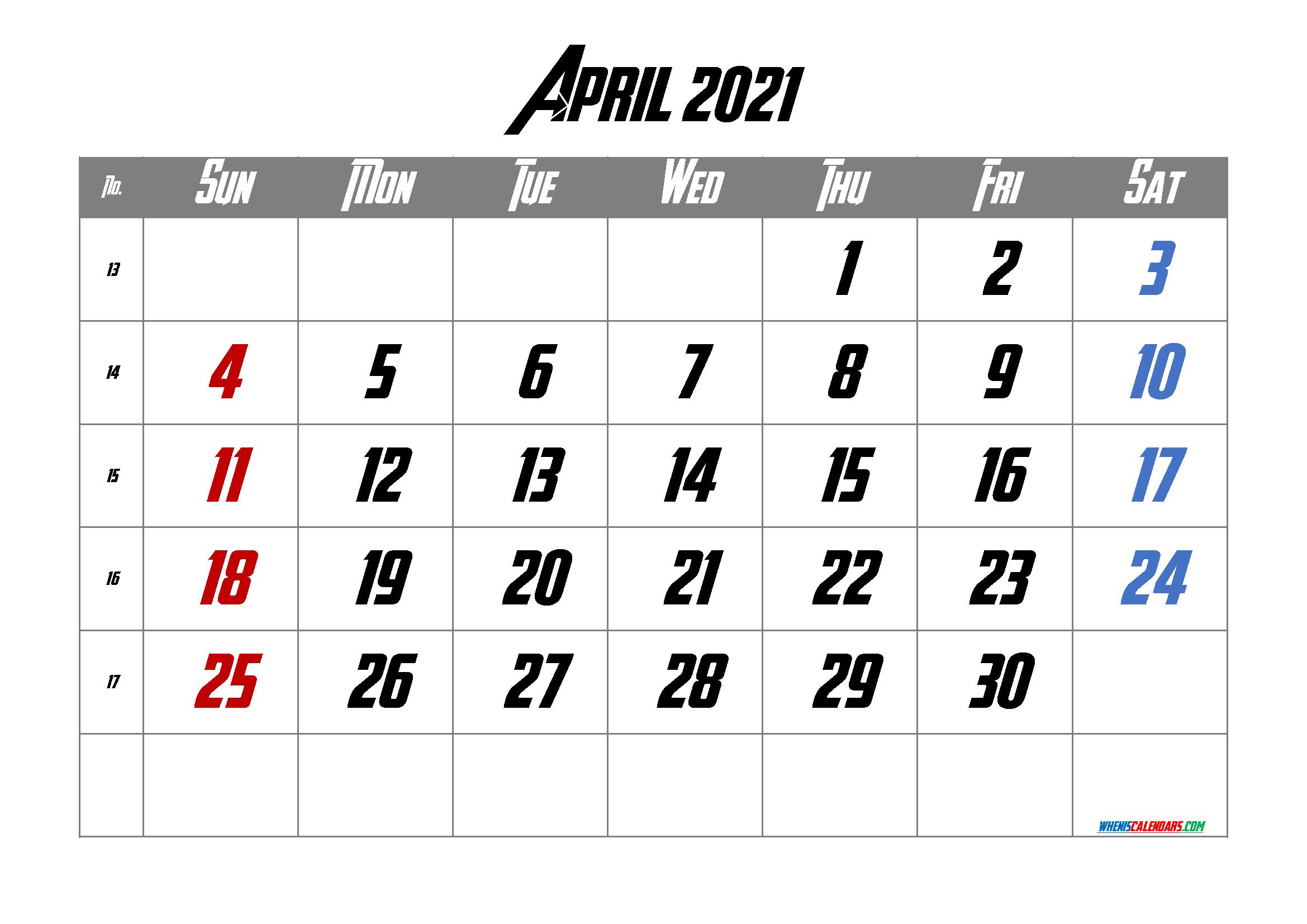 Calendar April 2021 Free Printable