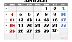 Printable April 2021 Calendar Free
