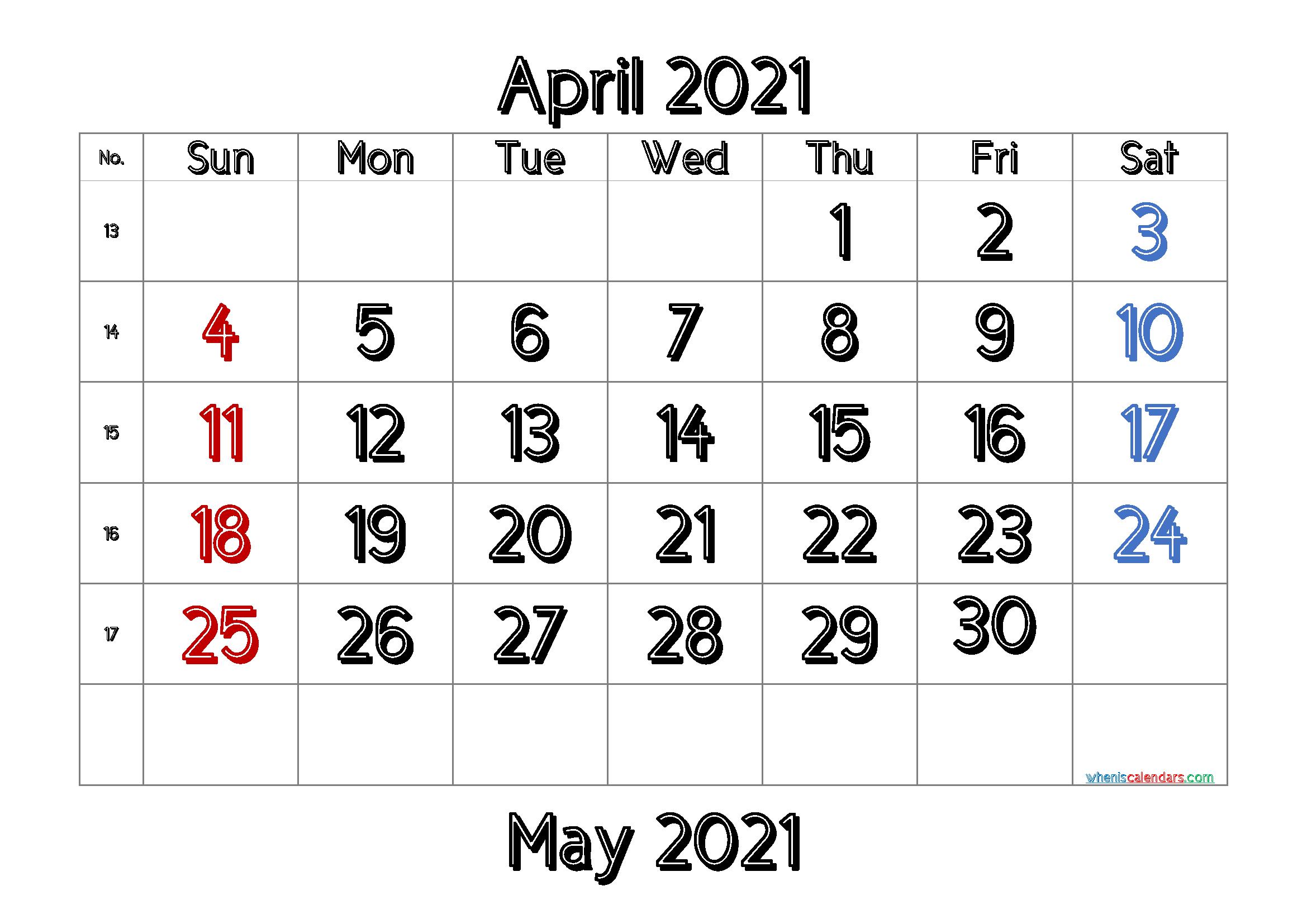 Free April 2021 Calendar Printable