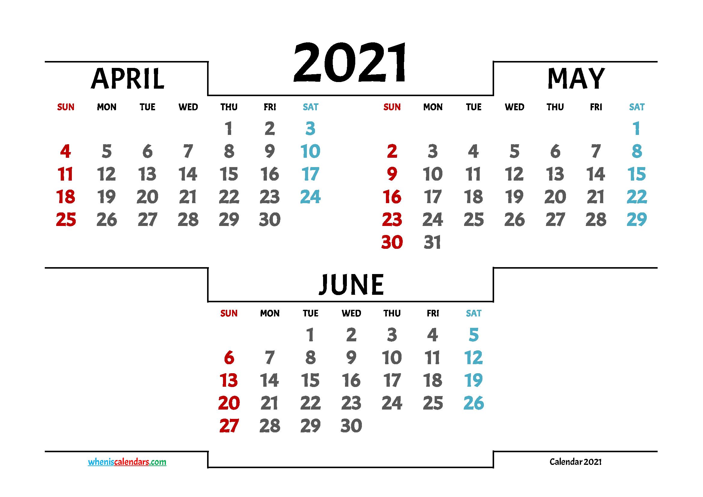 Printable April May June 2021 Calendar