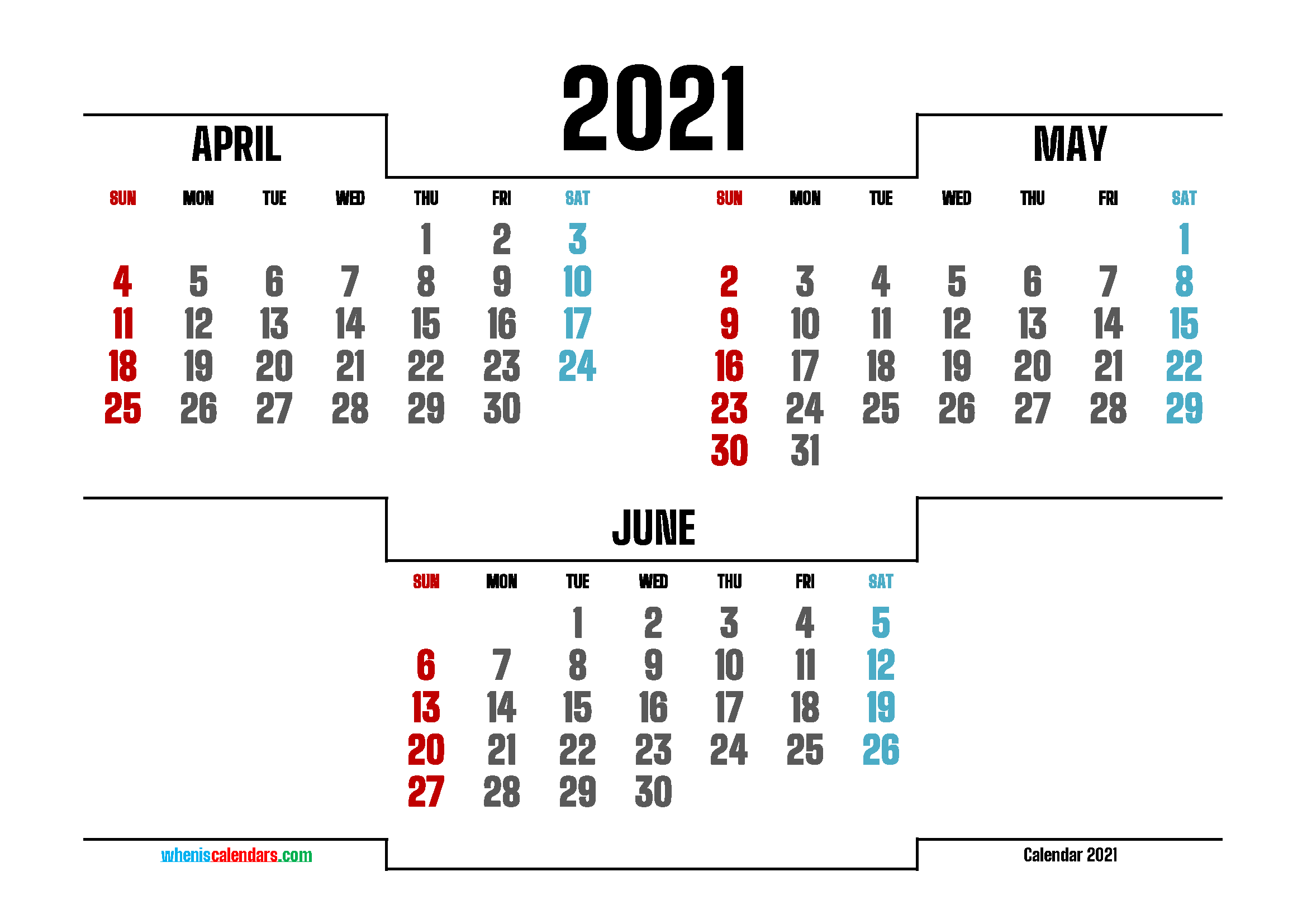 April May June 2021 Printable Calendar Free