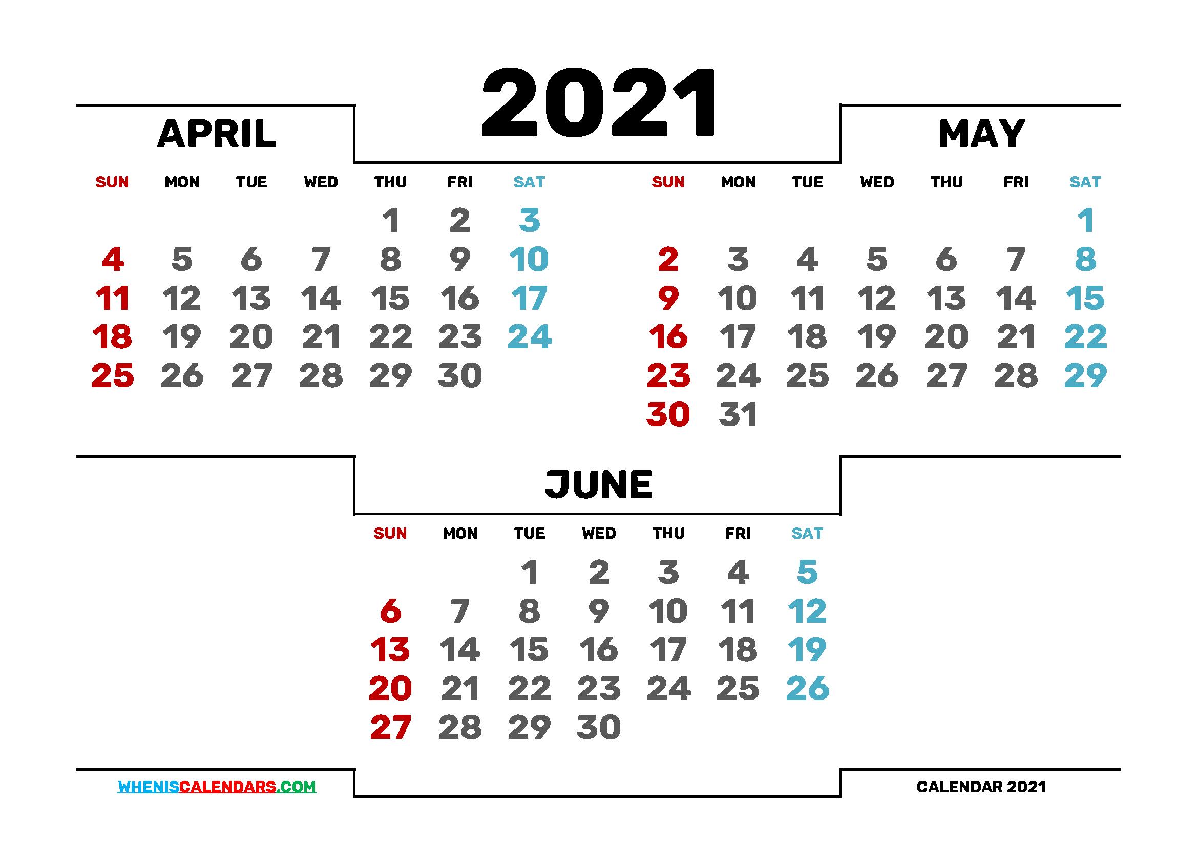 Calendar April May June 2021 Printable