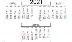 April May June 2021 Printable Calendar Free