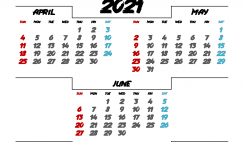 April May June 2021 Printable Calendar