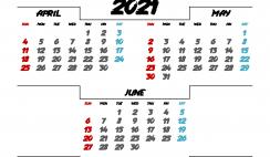 April May June 2021 Printable Calendar