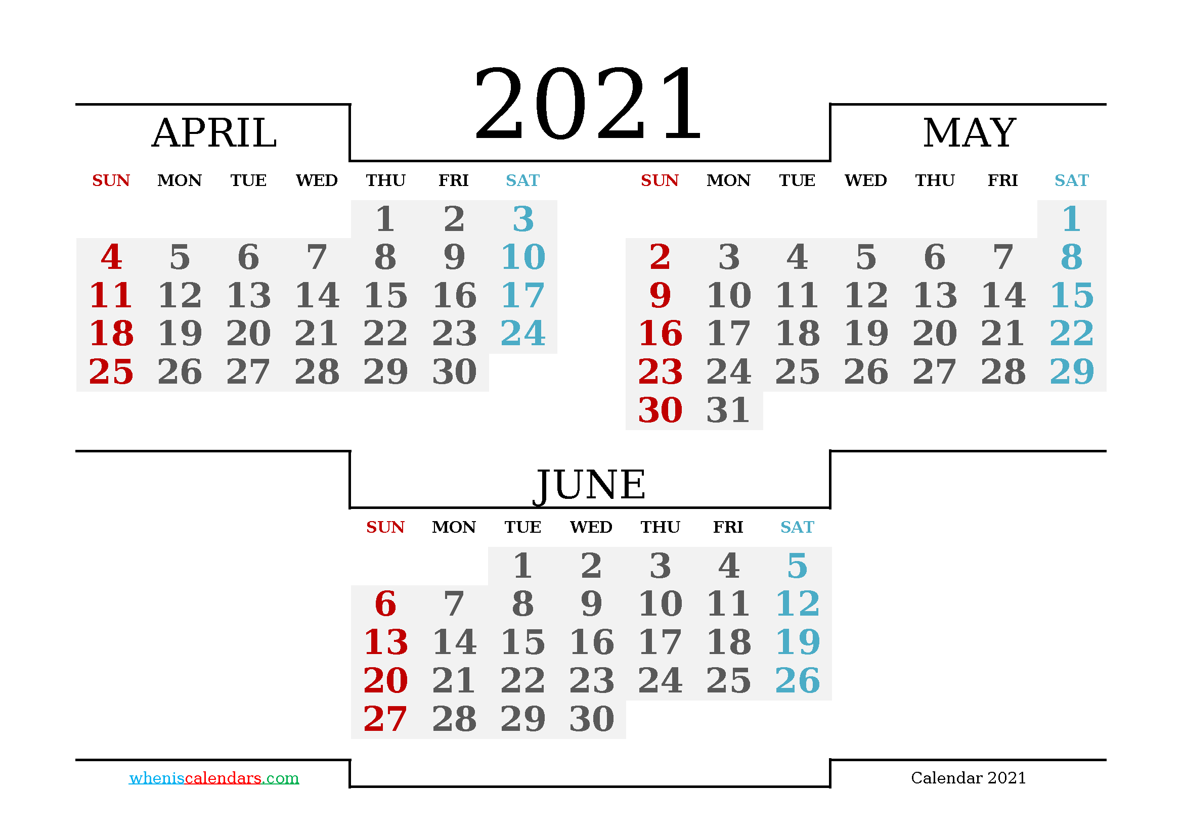 Free April May June 2021 Calendar Printable