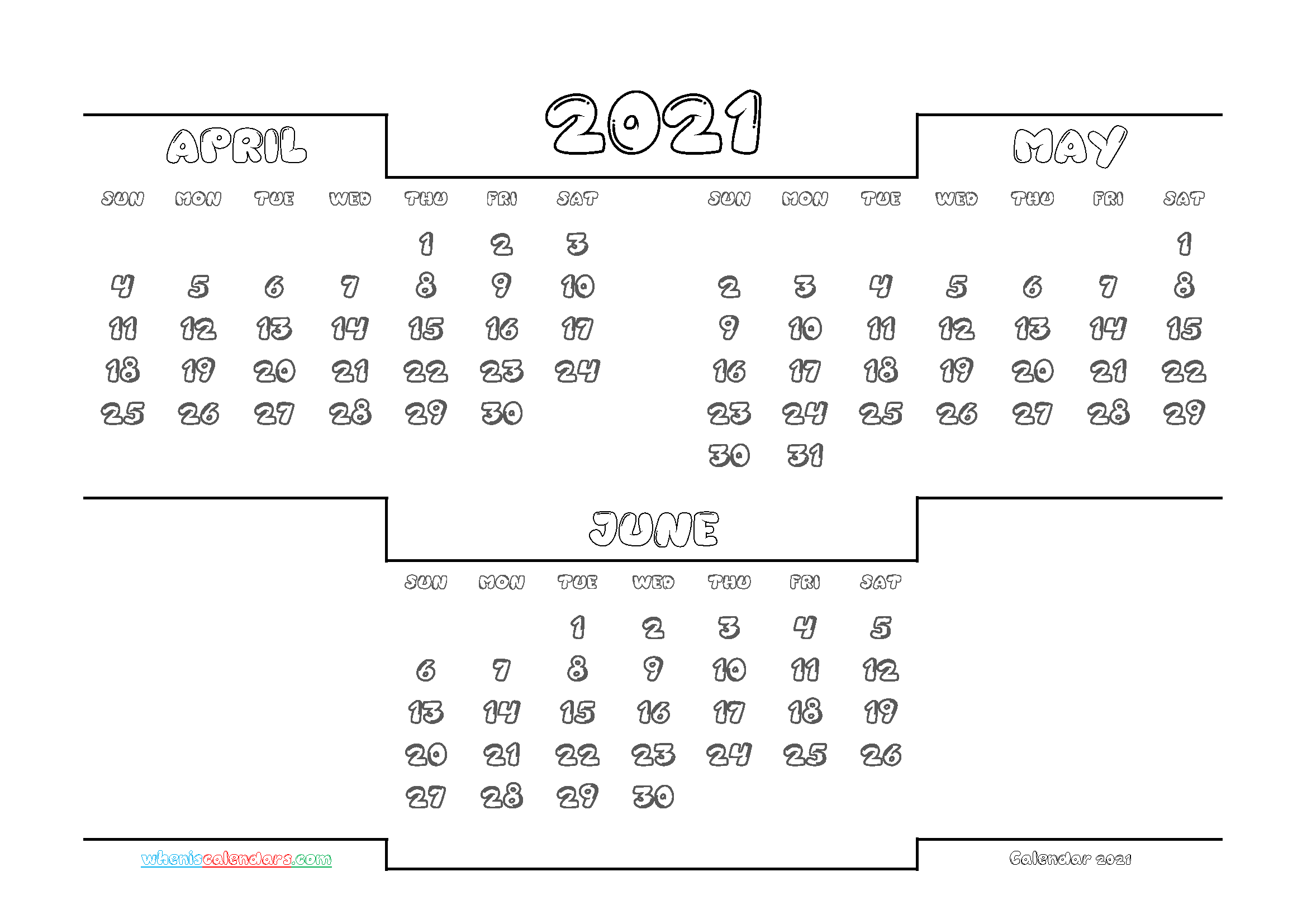 Calendar April May June 2021 Printable